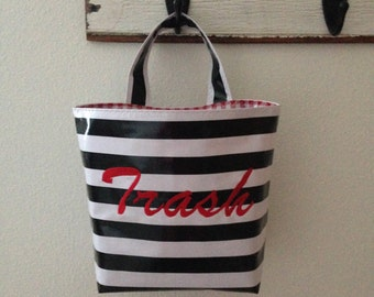 Beth's Oilcloth Stripes Embroidered Car Trash Bag Hanging Receptacle