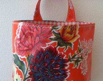 Beth's Orange Mum Oilcloth Car Trash Bag Receptacle Storage