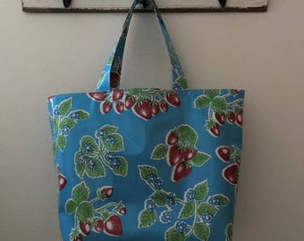 Beth's Big Vintage Blue Strawberry Oilcloth Market Tote Bag