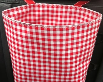 Beth's Red Gingham Oilcloth Car Trash Bag Receptacle Storage Container with Ribbon Tie