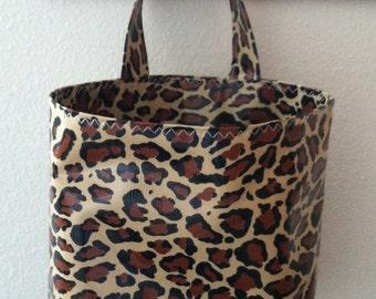 Beth's Oilcloth Animal Leopard Print Car Trash Bag Receptacle