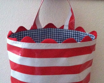 Beth's Red Stripe Oilcloth Car Trash Receptacle Bag with Rick Rack