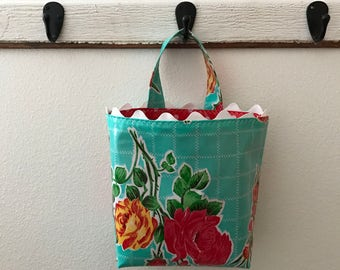 Beth's Aqua Vintage Rose Oilcloth Car Trash Bag Hanging Receptacle with Rick Rack Trim