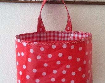 Beth's Red Polka Dot Oilcloth Car Trash Bag Hanging Receptacle Basket
