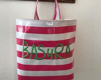 Beth's Oilcloth Basura Car Trash Bag Hanging Receptacle Storage Basket