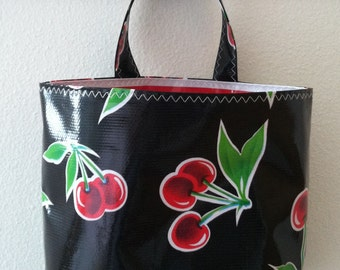 Beth's Reversible Black Cherry Oilcloth Car Trash Bag Receptacle Storage Container