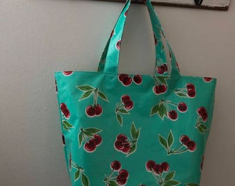 Beth's Big Retro Cherries Oilcloth Market Tote Bag
