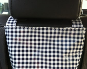Beth's Oilcloth Gingham Headrest Car Trash Bag Receptacle