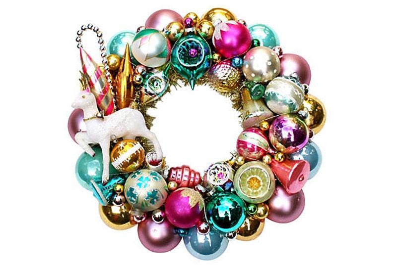 Custom door wreath Ornament Wreath Shiny Brite Wreath image 0