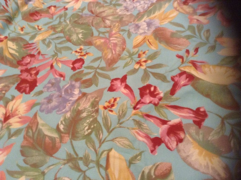 Canvas Fabric Flowers floral aqua tropical 4 yes plus upholstery indoor outdoor