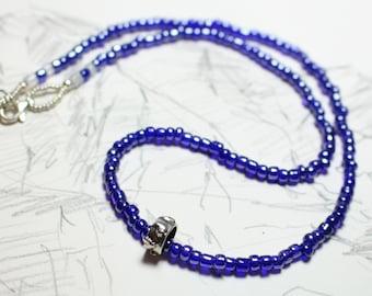 Cobalt bead and moonstone sterling heart slider necklace