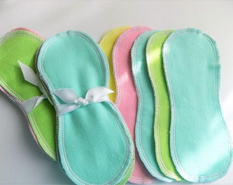 Special 5/10.00, Lay in cloth pads/pantyliners, pastel cotton flannel, next day shipping, cloth pads, cloth panty liners, contoured