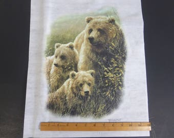546ac47c Grizzly Mamma Bear and Two Cubs Heat Transfer Sample Yelowstone Bears  Fabric Wall Decor American Wildlife John Seery-Lester Print