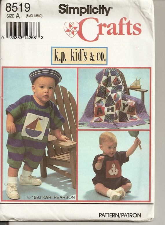 cc33b72b752 Babies Knit Romper Hat and Quilt Simplicity Crafts 8519 6