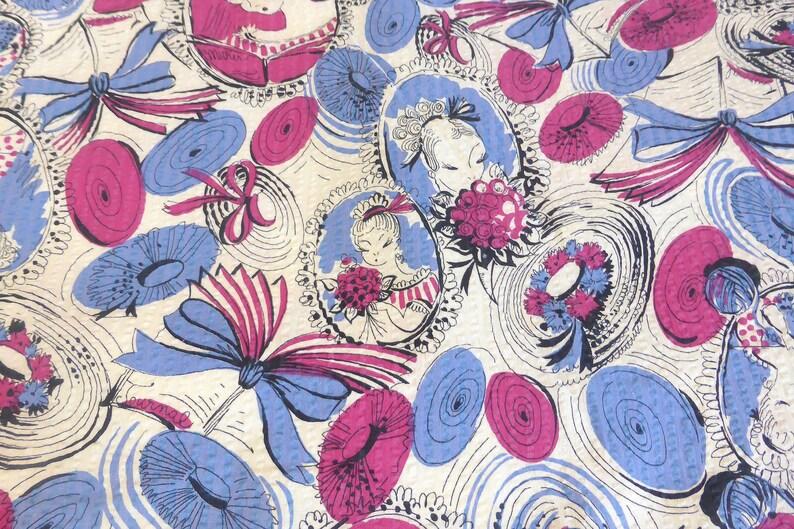Vintage Seersucker Plisse Fabric Victorian 1900 Motif Victorian Young Women Journals Knitting Wide Brim Hat Print 2 23 Yds x 32 Inches