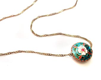 Flower bead necklace-turquoise necklace-metallic pendant- Hand Enamel necklace-minimalist necklace -Turkish Jewellery