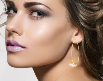 Minimalist earrings- gold long hooks-bezel set pink Champagne quartz-Modern earrings-natural Gemstone earrings