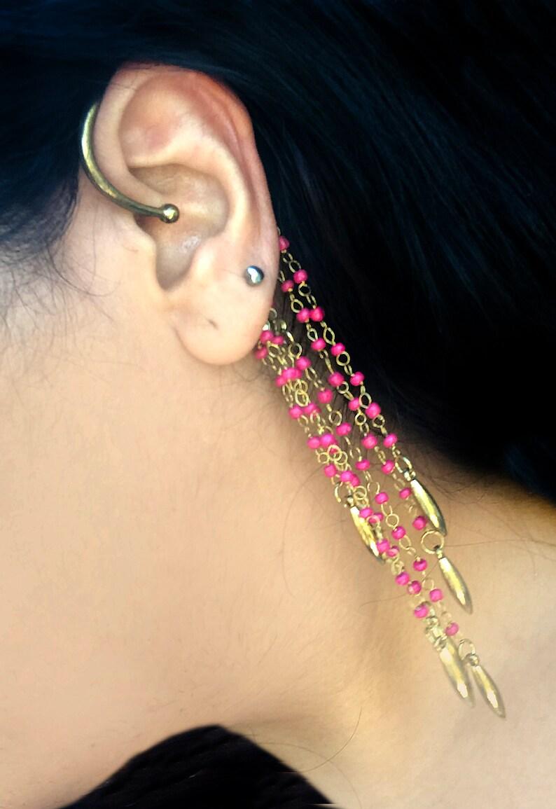 Bohemian ear cuff-Red Gold beaded Spike EAR Cuff-Gold Ear Jackets-Ear climbers-Boho-chic earring,minimalist,modern earrings,Long ear cuffs