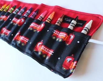 Fire Truck Crayon Roll-Crayon Holder-Boy Birthday Party Gift-Firetruck Party Favor-Crayon Holder-Boy Birthday Gift-Summer Travel Activity