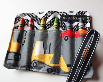 Valentines Day Gift-Christmas Gift-Crayon Roll-Crayon Holder-Construction Trucks-Boy Birthday Gift-Travel Toy-Kid Craft-Kid Toy-Crayons