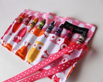 Girl Easter Basket Gift-Owls Crayon Holder-Girl Owl Birthday Party Favor-Girl Crayon Roll-Girl Birthday Gift-Easter Basket Gift-Kid Craft