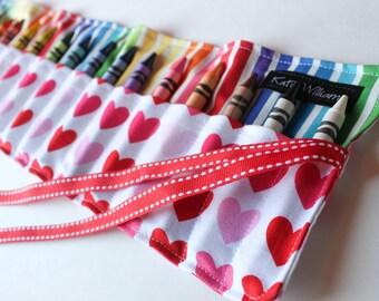 Girl Easter Gift-Crayon Roll-Crayon Holder-Hearts-Rainbows-Girl Birthday Gift-Kid Christmas Gift-Kid Art-Crayon Holder-Party Favor