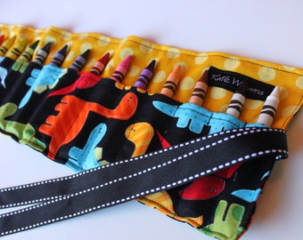 Crayon Holder-Dinosaur Crayon Holder-Crayon Roll-Summer Travel Activity-Dinosaur Party Favor-Dino-Coloring-Kid Craft-Boy Birthday Party Gift