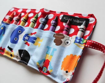 Crayon Holder-Crayon Roll-Super Hero Birthday party favor-Super Hero Boy Gift-Boy Toy-Kid Craft-Boy Birthday Party-Summer Travel Activity