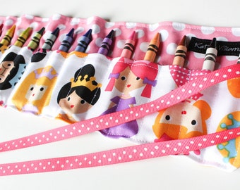 Crayon Roll-Princess Crayon Holder-Princess Birthday Gift-Girl Party Favor-Kid Craft-Kid Travel-Crayons-Kid Toy-Summer Tavel Toy-Quiet Toy