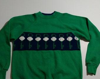 Vtg 80s Golf Tee Off Time Ugly Christmas Sporty Fraternity Preppy Varsity Letterman Sorority Frat House Hipster Indie Sweater Sweatshirt