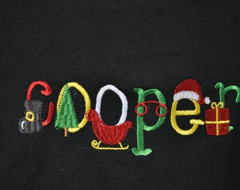 e3926489e40 Santa font - child s name embroidered in Santa font decorative letters