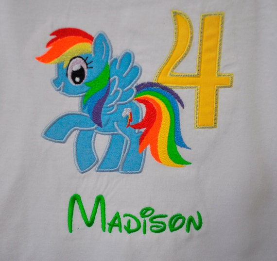 Rainbow Dash Pony Birthday Shirt With Age Number And Name