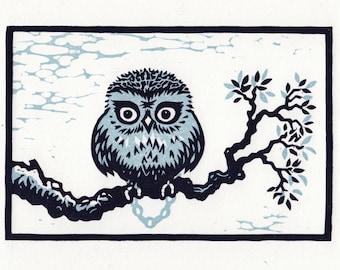 Lockdown Owl linocut original print