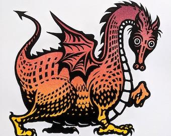 Dragon original linocut print