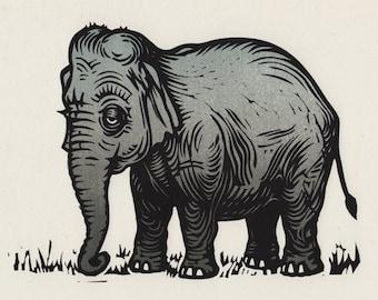 Elephant original linocut print