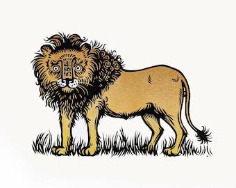 Lion original linocut print (colour)