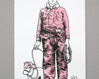 Pink Cowboy linocut original print