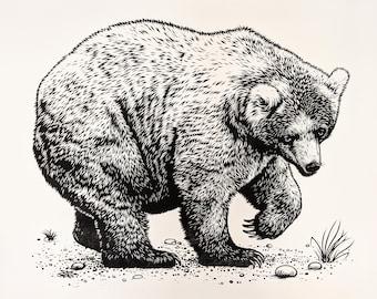 Bear original linocut print