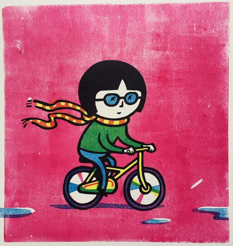 Bike Girl linocut image 0