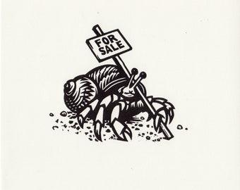 Hermit Crab linocut original print