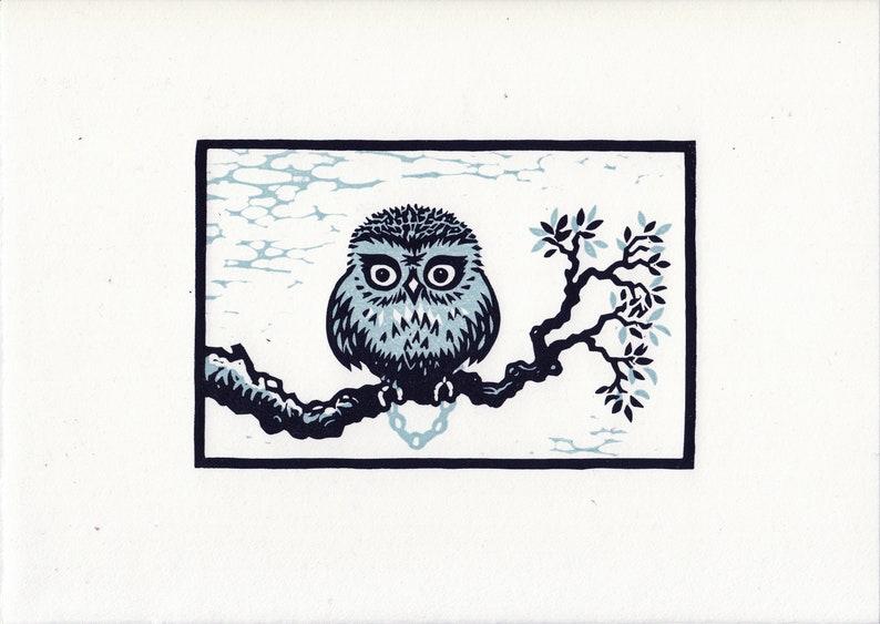 Lockdown Owl linocut original print image 0