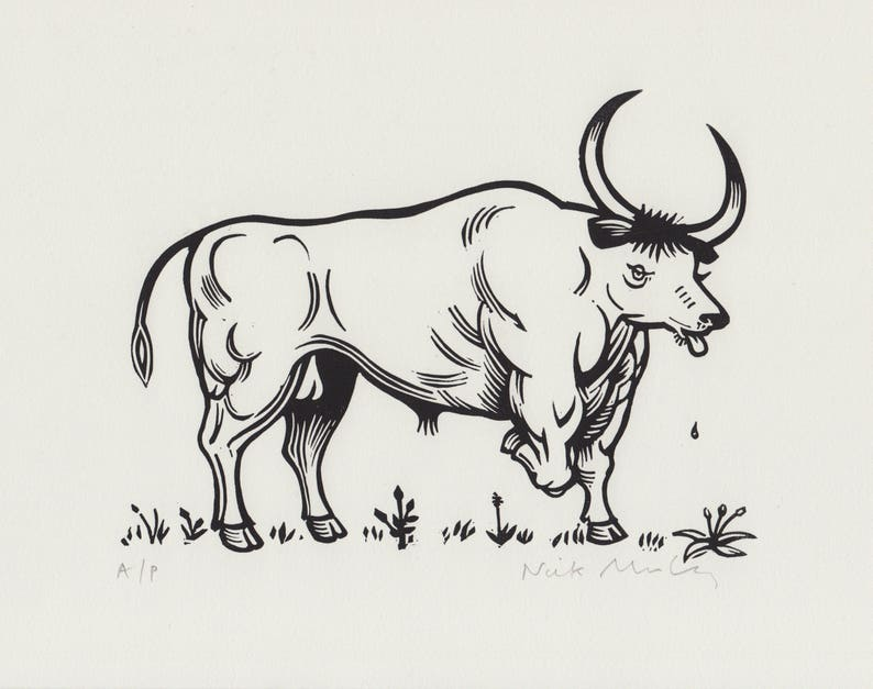 Bull After Thomas Bewick original linocut print image 0