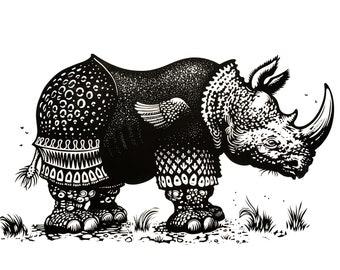 Rhinoceros (after Dürer) linocut