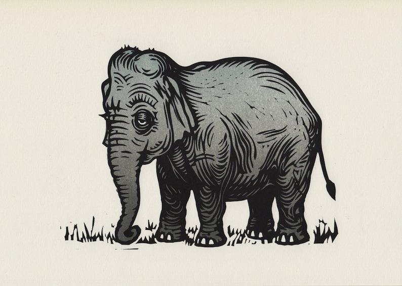 Elephant original linocut print image 0
