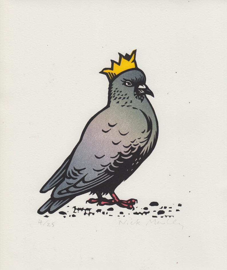 Party Pigeon linocut print image 0