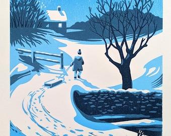 Winter scene linocut