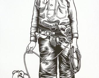 Cowboy linocut original print