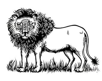 Lion original linocut print