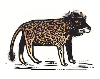 Beast Linocut
