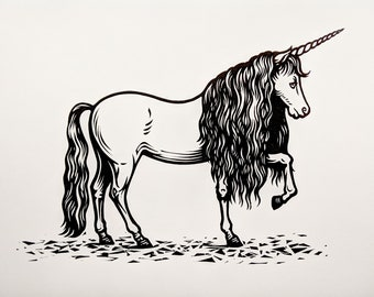 Unicorn original linocut print